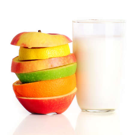 some fresh fruit with a glass of milk Stock Photo - 5084573