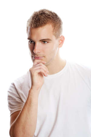 cogitate: a young, attractive and happy man is thinking