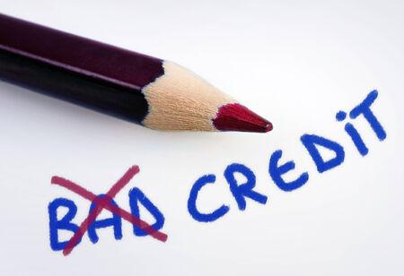 Bad credit word on grey background
