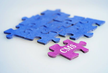 Puzzle word CMS on blue background photo