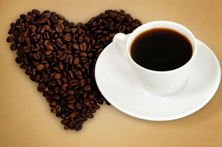 Love coffee on brown background photo