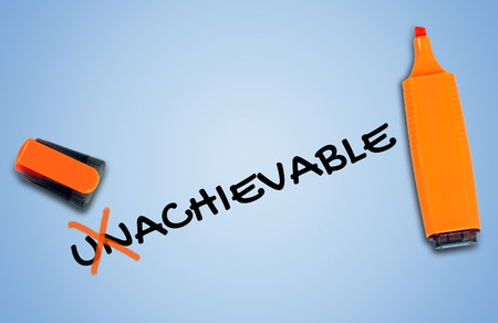unachievable: Unachievable word on blue background Stock Photo
