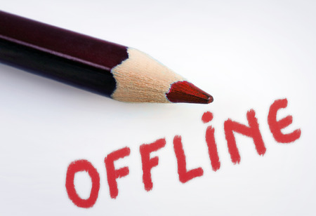 offline: Offline word on grey background