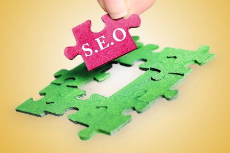 Puzzle with SEO word piece photo