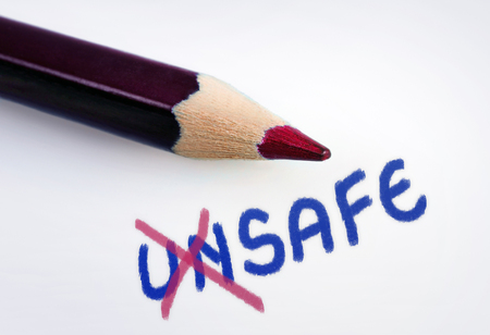 safeguarded: Unsafe word on grey background