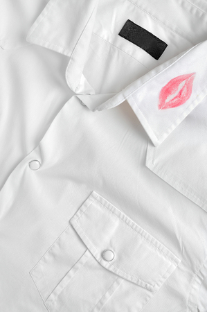 White shirt with kiss lipstick Imagens