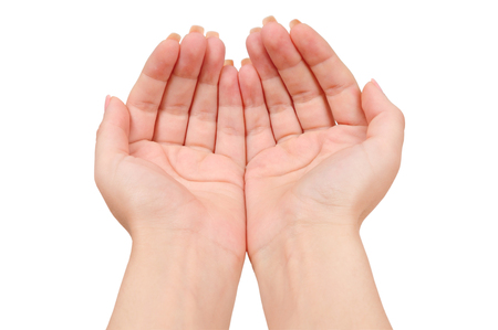 Isolated cupped hands on white background Stock Photo
