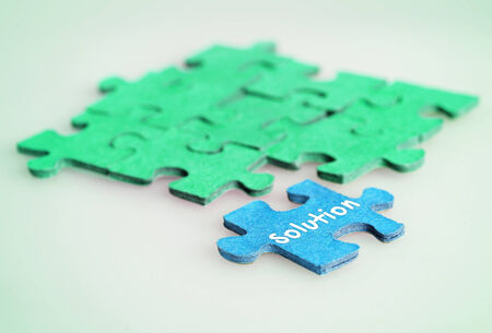 Puzzle with Solution word piece photo