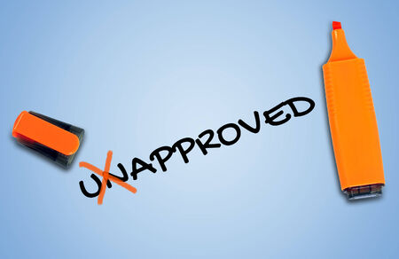 unapproved: Unapproved word on blue background Stock Photo