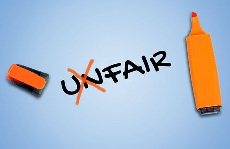 unfair: Unfair word on blue background