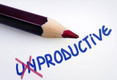 Unproductive word on grey background