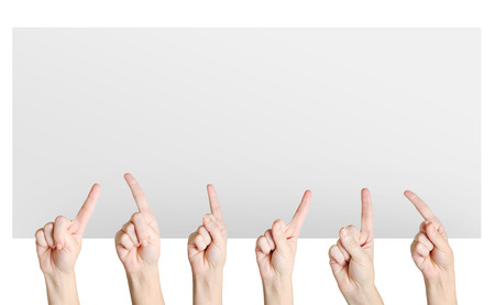 Isolated finger pointing on background Stock Photo - 26036148