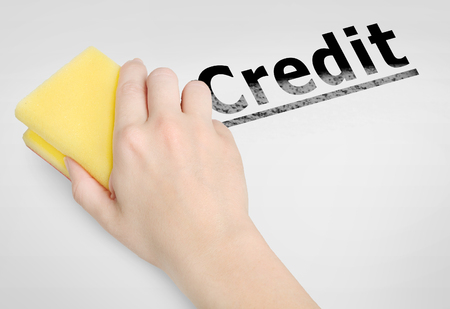cleaning debt: Cleaning credit word on background