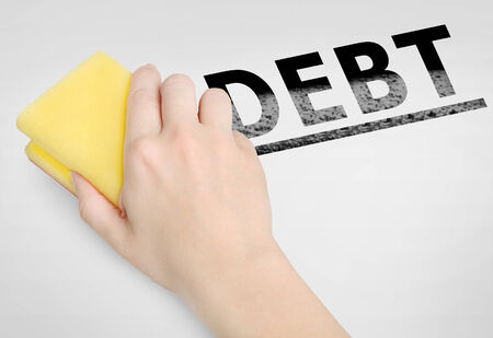 cleaning debt: Cleaning debt word on background Stock Photo