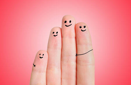Finger family on red background Stock Photo