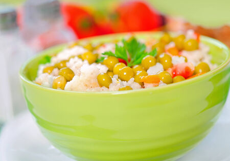 Bowl with risotto and vegetable photo