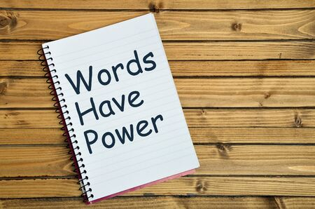 Words have power word on notebook page Archivio Fotografico