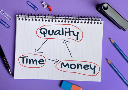 time is money: Quality Time Money word on notebook page