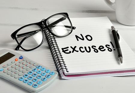 No excuses word on notebook page Archivio Fotografico