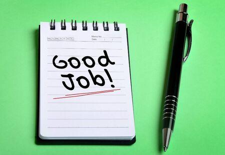 good job: Good Job word on notebook page Stock Photo