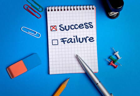 Success box checked on notebook page Stock Photo