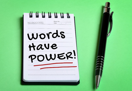 power supply: Words have Power word on notebook page