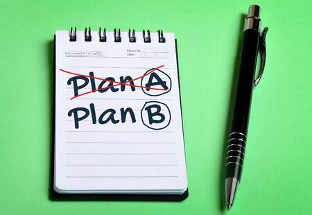 Plan A Plan B word writing on notebook