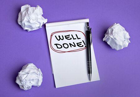 competencias laborales: Bien hecho palabra en el cuaderno