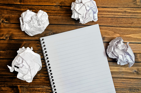 paper: Empty notepad on wooden table Stock Photo