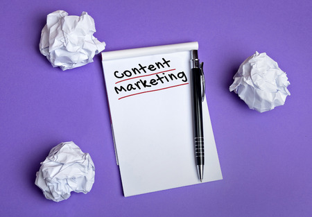 Content marketing word on notepad Stock Photo