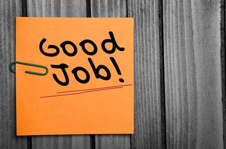 alabanza: Buena palabra trabajo en notas de naranja Foto de archivo