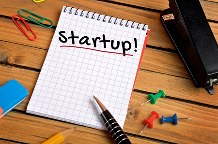 incorporation: Start up word on notepad Stock Photo