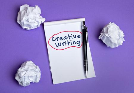 Creative writing word on notepad Archivio Fotografico
