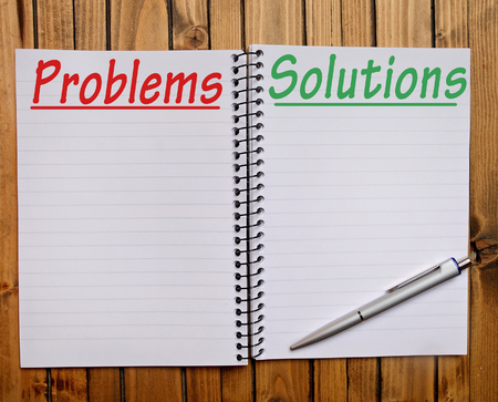 problem solution: Problem Solution word on notepad Stock Photo
