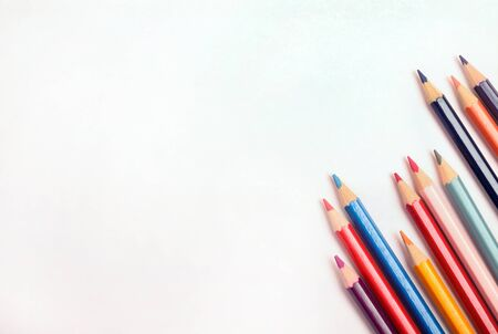 pencil and paper: Many colorful pencil with white paper