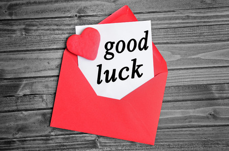 good luck: Good luck word on white paper