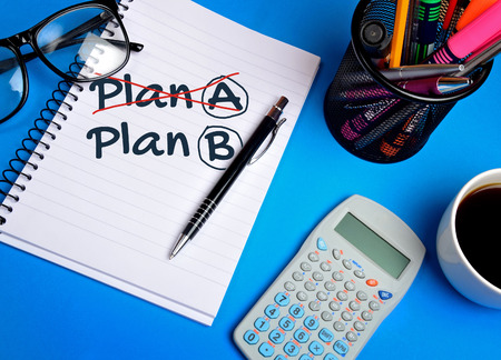 plan b: Plan A Plan B word on notepad Stock Photo