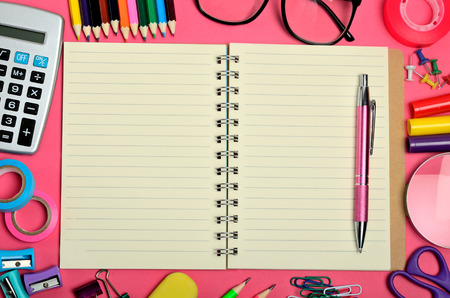 background stationary: School office supply on pink background