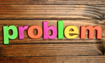 educational problem solving: Problem word on wooden table Stock Photo