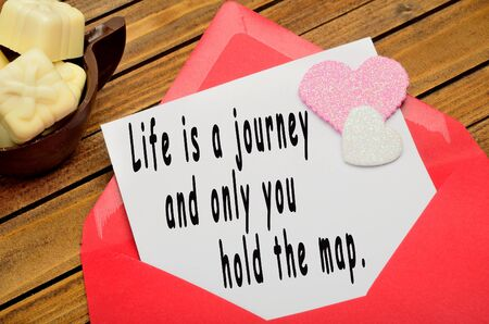 love hearts: Life is a journey and only you hold the map written on paper
