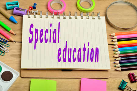 special education: Special education words on notebook