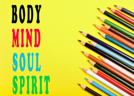 mind body spirit: Body,mind,soul,spirit words on yellow background