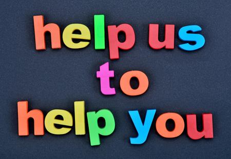 Tekst Pomóż nam pomóc na czarnym tle