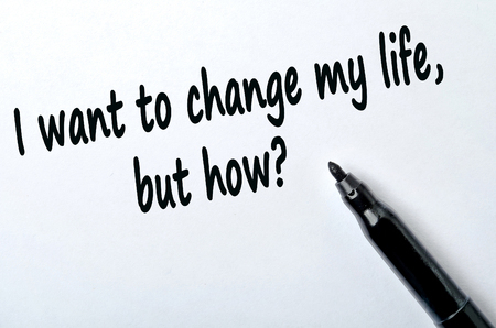 but: Question I want to change my life but how on white background Stock Photo