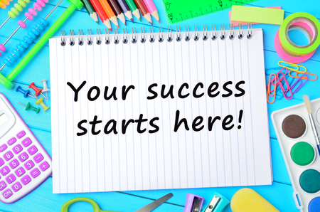 Text Your success starts here on notebook page