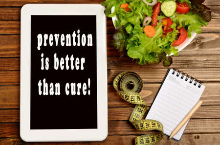 better: The words Prevention is better than cure on digital tablet pc Stock Photo