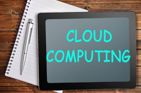 words cloud: The words Cloud computing on tablet pc Stock Photo