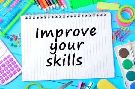 The words Improve on skills on notebook
