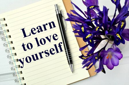 yourself: Learn to love yourself on page closeup
