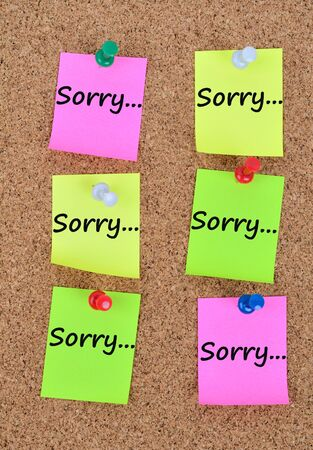 forgiven: The word Sorry on colorful notes